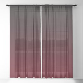 Dark Burgundy ombre Sheer Curtain