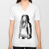 lady V-neck T-shirts featuring Lady  by KeithKarloff