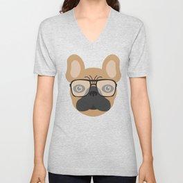 French Bulldog With Glasses Unisex V-Neck