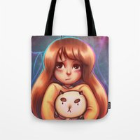 bee and puppycat Tote Bags featuring Bee and Puppycat by Dani Taillefer