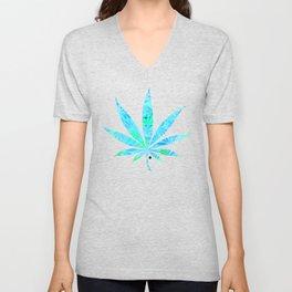 Blue Mint Cannabis Swirl Unisex V-Neck