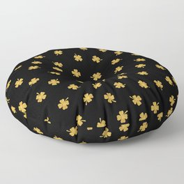 Golden shamrocks Black Background Floor Pillow
