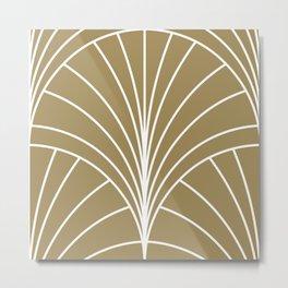 Round Series Floral Burst White on Gold Metal Print