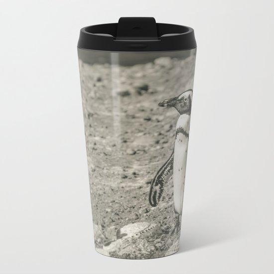 Black and White African Penguin Metal Travel Mug