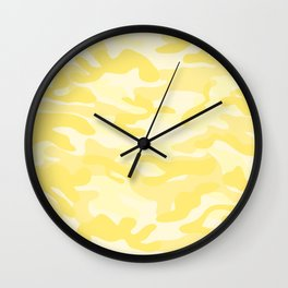 light Yellow Military Camouflage Pattern Wall Clock