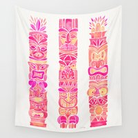 tiki Wall Tapestries featuring Tiki Totems – Pink Palette by Cat Coquillette