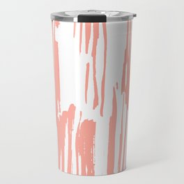 Pretty Pink Brush Stripes Vertical Travel Mug