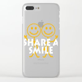 """A Nice Share Tee For A Sharing You """"Share A Smile"""" T-shirt Design Happy Happiness Smirk Beam Grin Clear iPhone Case"""