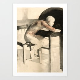 'The Pondering Man' Male Figure Drawing in Classic Realism Art Print