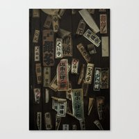 stickers Canvas Prints featuring Kyoto Name Stickers 1 by Jason Halayko