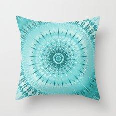 Tuquoise Metallic Mandala Throw Pillow