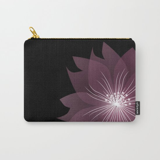 Burgundy flowers on black background . Carry-All Pouch