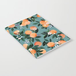 Dear Clementine - oranges teal by Crystal Walen Notebook