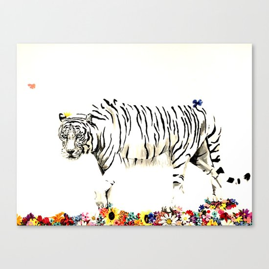 Beauty of a white tiger Canvas Print