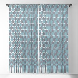 Cubist Ornament Pattern Sheer Curtain