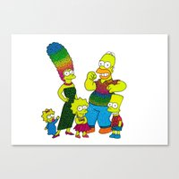 simpsons Canvas Prints featuring The Simpsons by Luna Portnoi