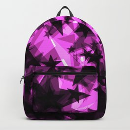 Dark purple cosmic stars with glow in the distance from the foil in perspective. Backpack