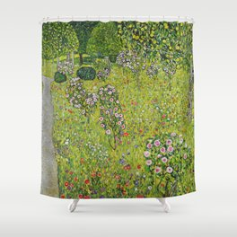 "Gustav Klimt ""Orchard with Roses (Obstgarten mit Rosen)"" Shower Curtain"