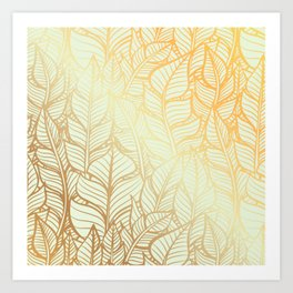 Bohemian Gold Feathers Illustration With White Shimmer Art Print