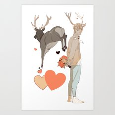 Cupid and Hearts Art Print