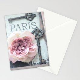 Paris Roses Skeleton Key Art  Stationery Cards