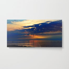 Blazing Sunset under Blue Sky Metal Print