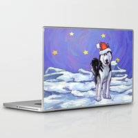 husky Laptop & iPad Skins featuring Husky Christmas by Imagine That! Design