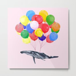 Flying Whale with Colourful balloons in Pink Metal Print