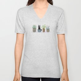 Three succulents and one kitten Unisex V-Neck