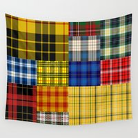 plaid Wall Tapestries featuring Crazy Plaid by CABINWONDERLAND