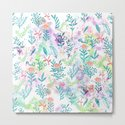 Hand drawn coral pink green watercolor floral by pink_water