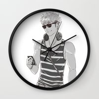 snk Wall Clocks featuring SNK: Modern Jean Kirschstein by Yuki119
