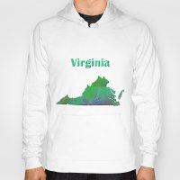 virginia Hoodies featuring Virginia Map by Roger Wedegis