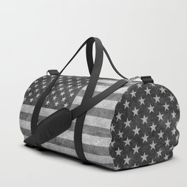 Stars and Sripes in retro style grayscale Duffle Bag