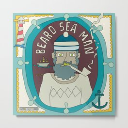 Beard Sea Man Metal Print
