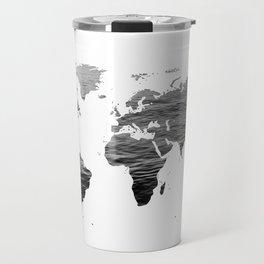 World Map - Ocean Texture - Black and White Travel Mug