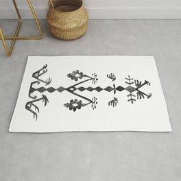 Tree of Life Black White Tribal Ethnic Kilim Motif Rug