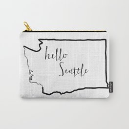 Hello Seattle, Washington State City Love Carry-All Pouch