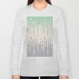 Marble and Geometric Diamond Drips, in Grey and Mint Long Sleeve T-shirt