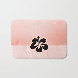 Black flower on pink background Bath Mat