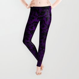Purple and Black Damask Pattern Design Leggings