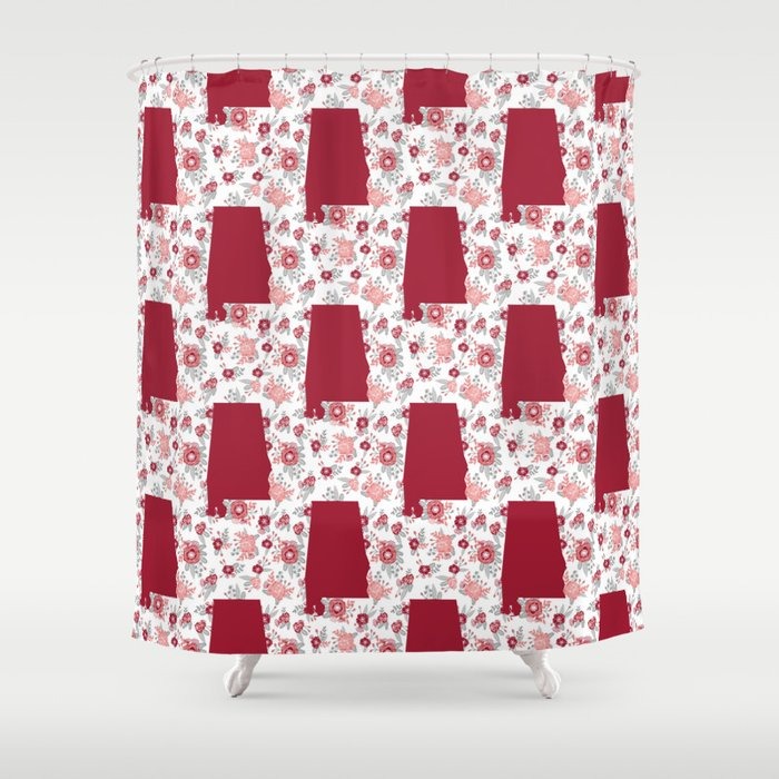 Alabama State Silhouette University Of Crimson Tide Floral College Football Gifts Shower Curtain