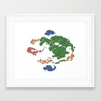 avatar the last airbender Framed Art Prints featuring Avatar the Last Airbender: Map (Fill) by ChemicalCurve