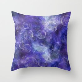 Space Universe with surreal soap bubbles Throw Pillow