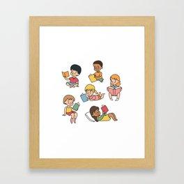 Kids Reading Books Framed Art Print
