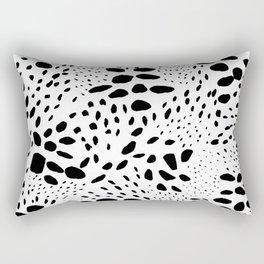 Modern abstract hand painted black polka dots pattern Rectangular Pillow