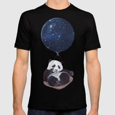 Panda in space Black 2X-LARGE Mens Fitted Tee