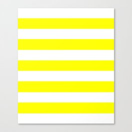 Yellow - solid color - white stripes pattern Canvas Print