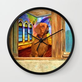 Dachshund Painting by Liane Wright Wall Clock