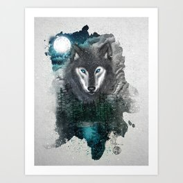 Night of the wolf Art Print